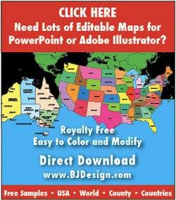 editable powerpoint and illustrator maps, www.bjdesign.com, usa, world, county, states