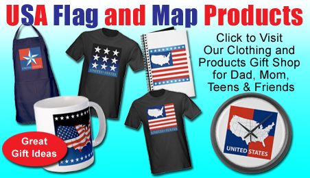 usa map flag stars, united states, america tshirt, mug, clock