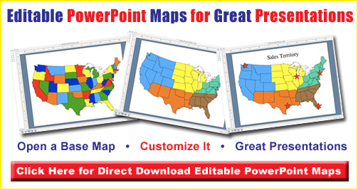 editable powerpoint us state map, usa, america, world projection