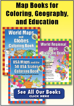 map books for education, georgraphy, business, home school, coloring books