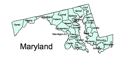 Maryland County Map Regional Blank Outline Map