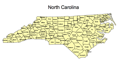 North Carolina Detailed County Map