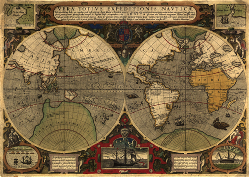 Royalty free antique historical vintage clip art maps world world 1595 royalty free jpg format antique historical world mercator map gumiabroncs