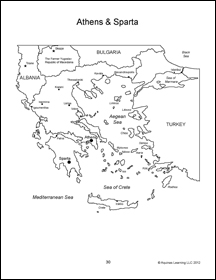 Athens & Sparta map with text