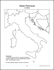 Map of the italian Peninsula