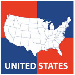 Map clothing gifts and products free us and world maps us map on 4 squares red blue united states map publicscrutiny Choice Image