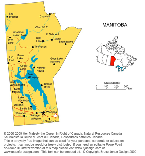 Manitoba Canada royalty free jpg map