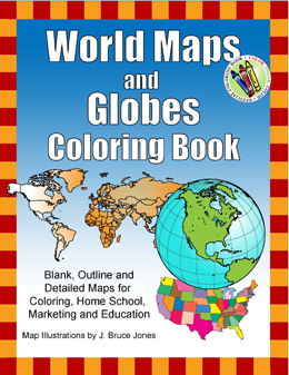 world globes map coloring book