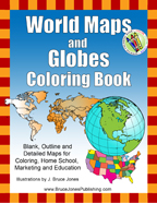 World Maps and Globes coloring book, blank, outline, printable maps