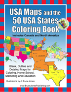 USA and 50 US state maps coloring book, blank outline maps