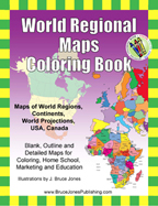 world regions and continents coloring book, blank, outline maps