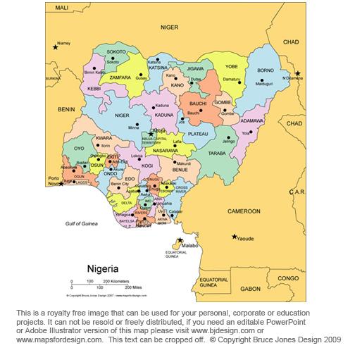 nigeria africa royalty free jpg map