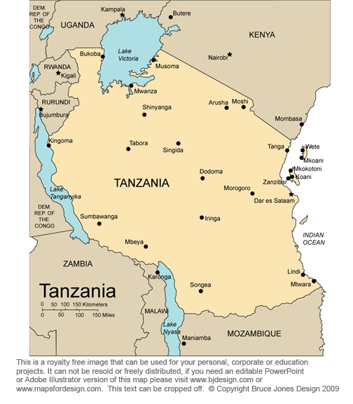 African Country Maps Printable Jpg Royalty Free Download To - Tanzania map download