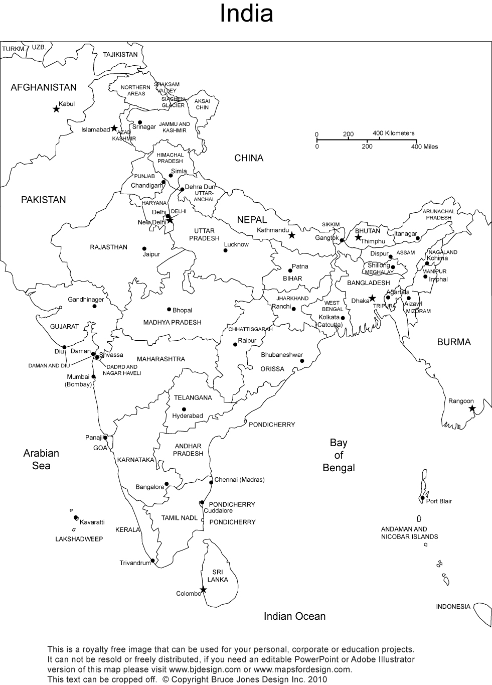 India Printable Blank Maps Outline Maps Royalty Free - World map with countries and their capitals pdf
