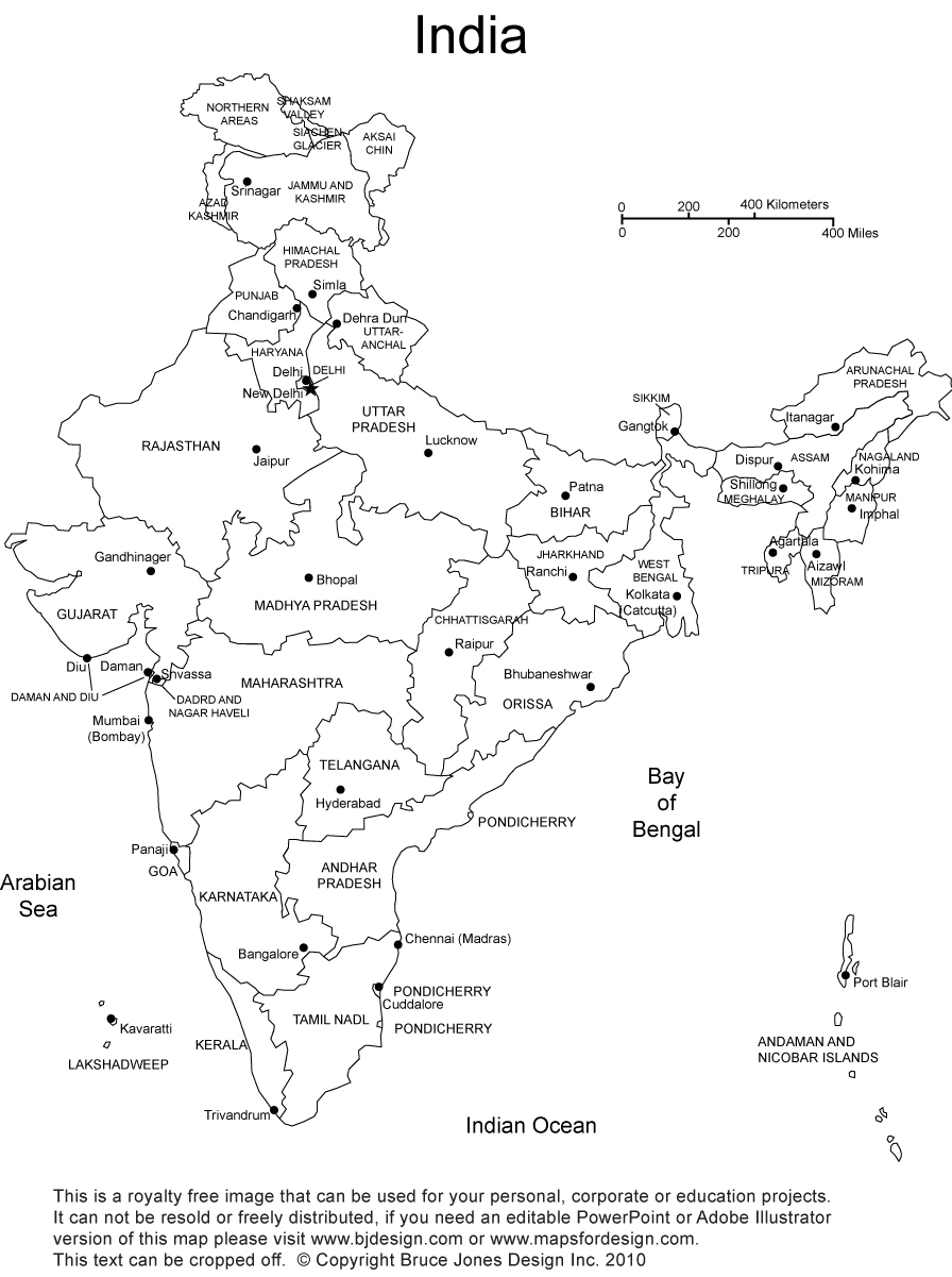 Royalty free printable blank india map with administrative