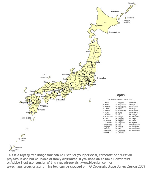 Japan map, Capital Tokyo, Asian country, near Sought Korea, Royalty Free, jpg