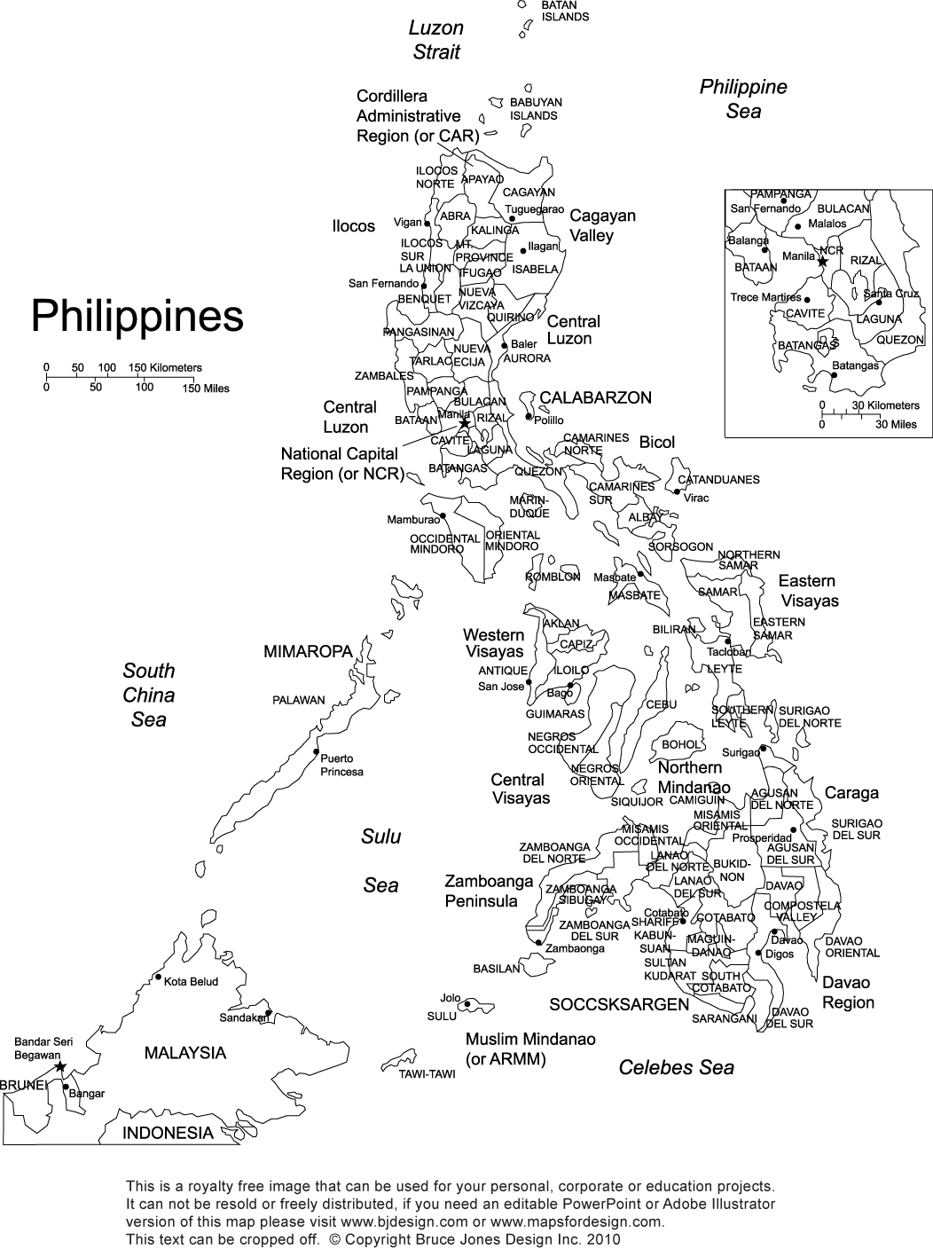 philippines printable blank map royalty free manila
