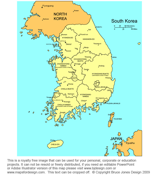 South Korea map, Seoul, Asia, royalty free, jgp