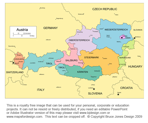 Printable Map Of Austria Printable Maps - Austria europe map