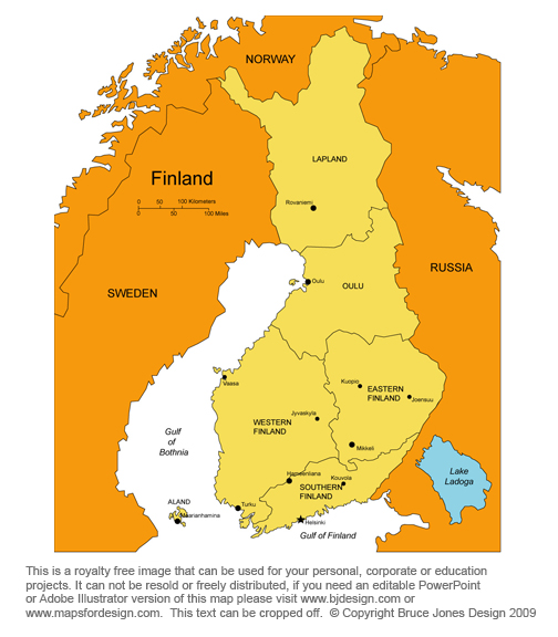 map of finland and sweden