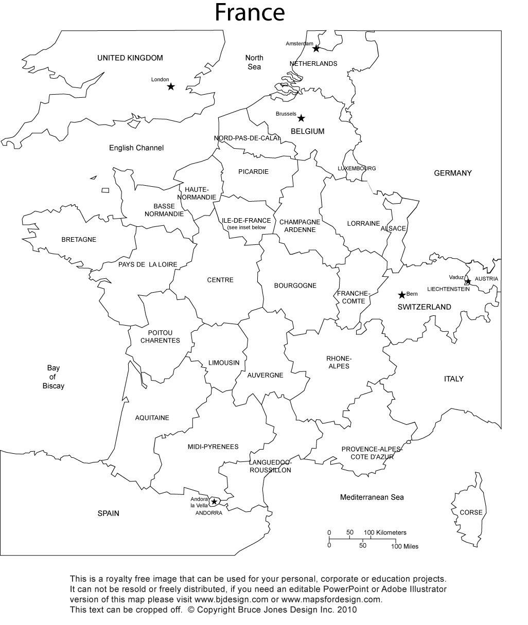 Printable France Map Printable Maps - France map images blank