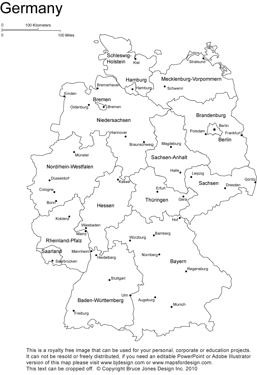 Germany printable, blank map, ...