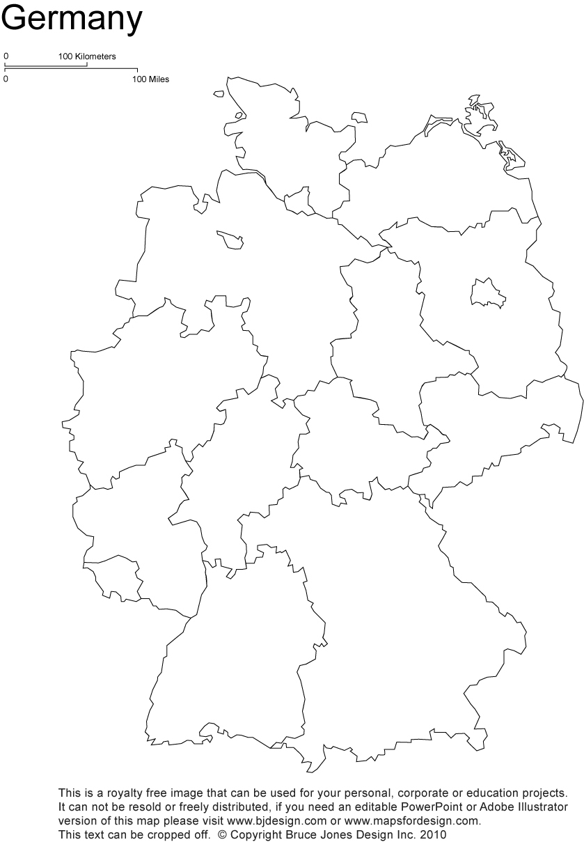 germany printable blank map, ...