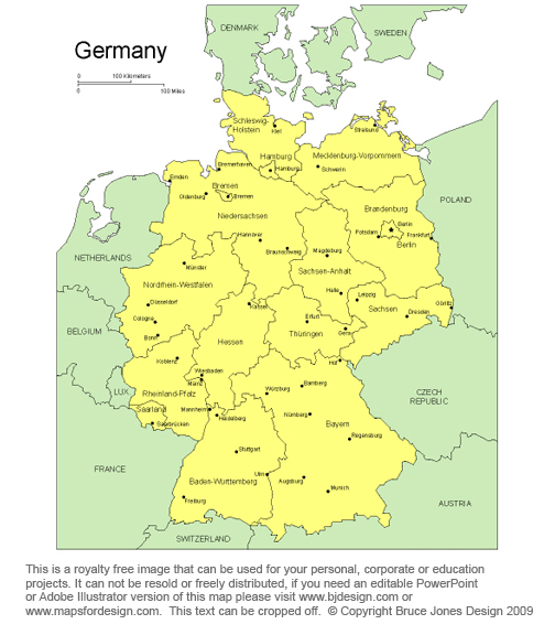 Germany, Printable map, europe, royalty free, clip art