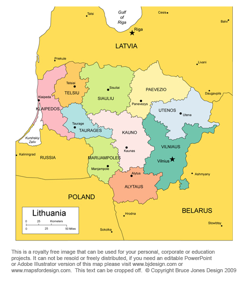 lithuania map vilnius europe royalty free jpg