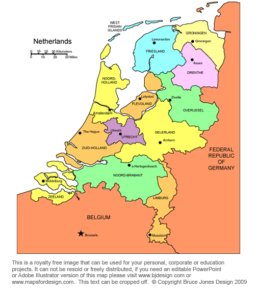 Netherlands Map Capital Amsterdam Broken Down By Administrative    Netherlands Map Europe