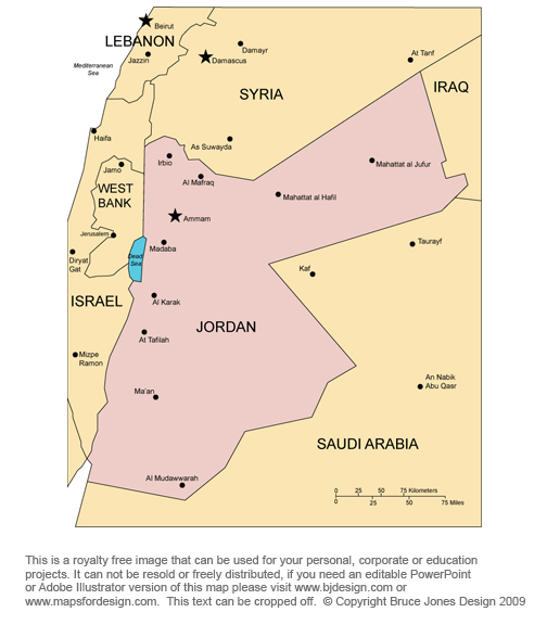 Jordan Map, Middle East, Bible, Royalty Free, jpg