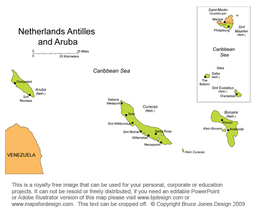 and Aruba Caribbean countries map, off the coast of South America,