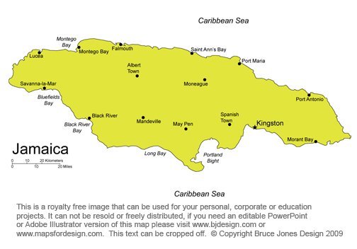 Free North American And Caribbean Countries Printable Royalty - Jamaica map caribbean sea