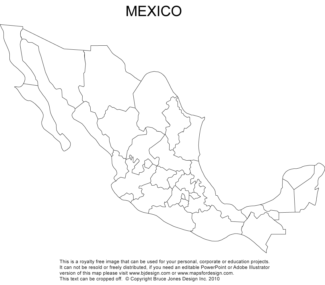 It is an image of Satisfactory Printable Map of Mexico