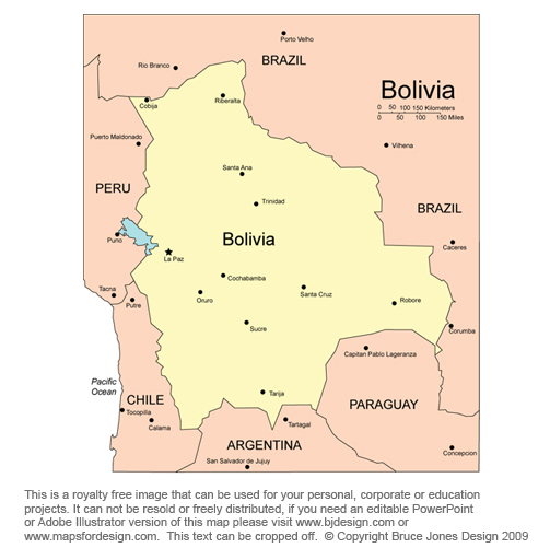 Bolivia map, La Paz South America Country Royalty Free jpg