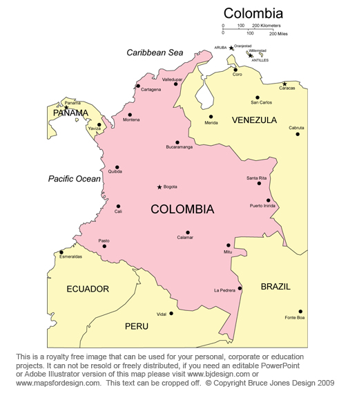 Colombia map, Bogota, South America Map, Royalty Free Jpg