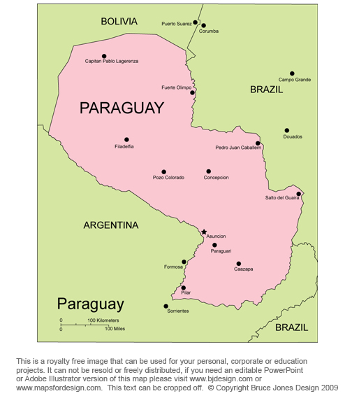 Paraguay map, Asuncion, south America, royalty free, jpg