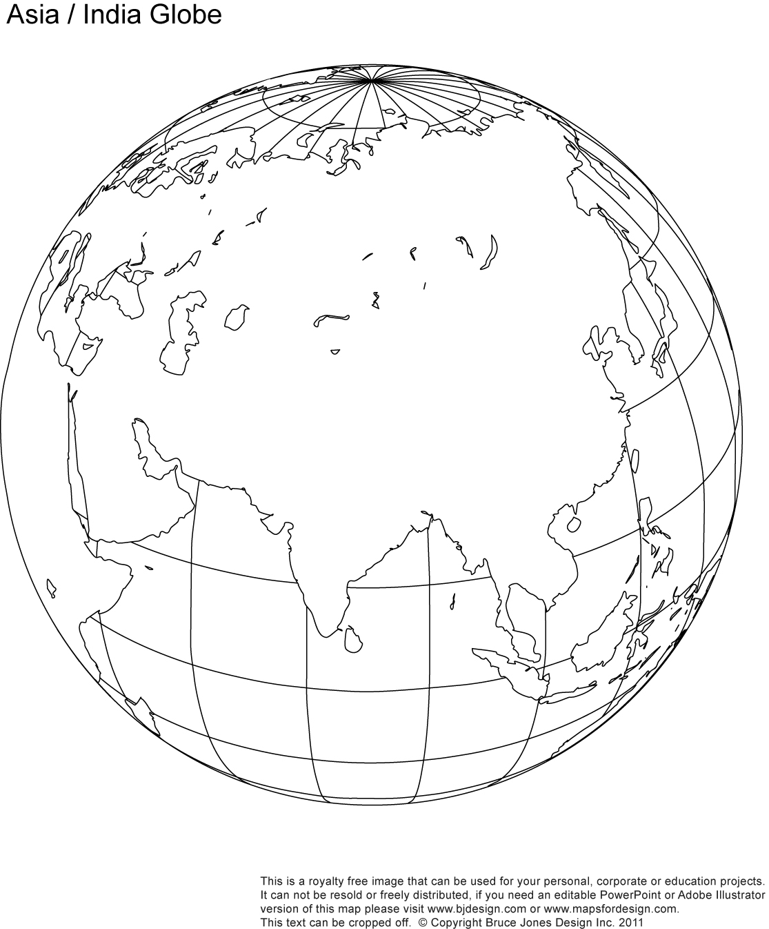Asia, India Globe Map, printable, blank, outline, royalty free, jpg