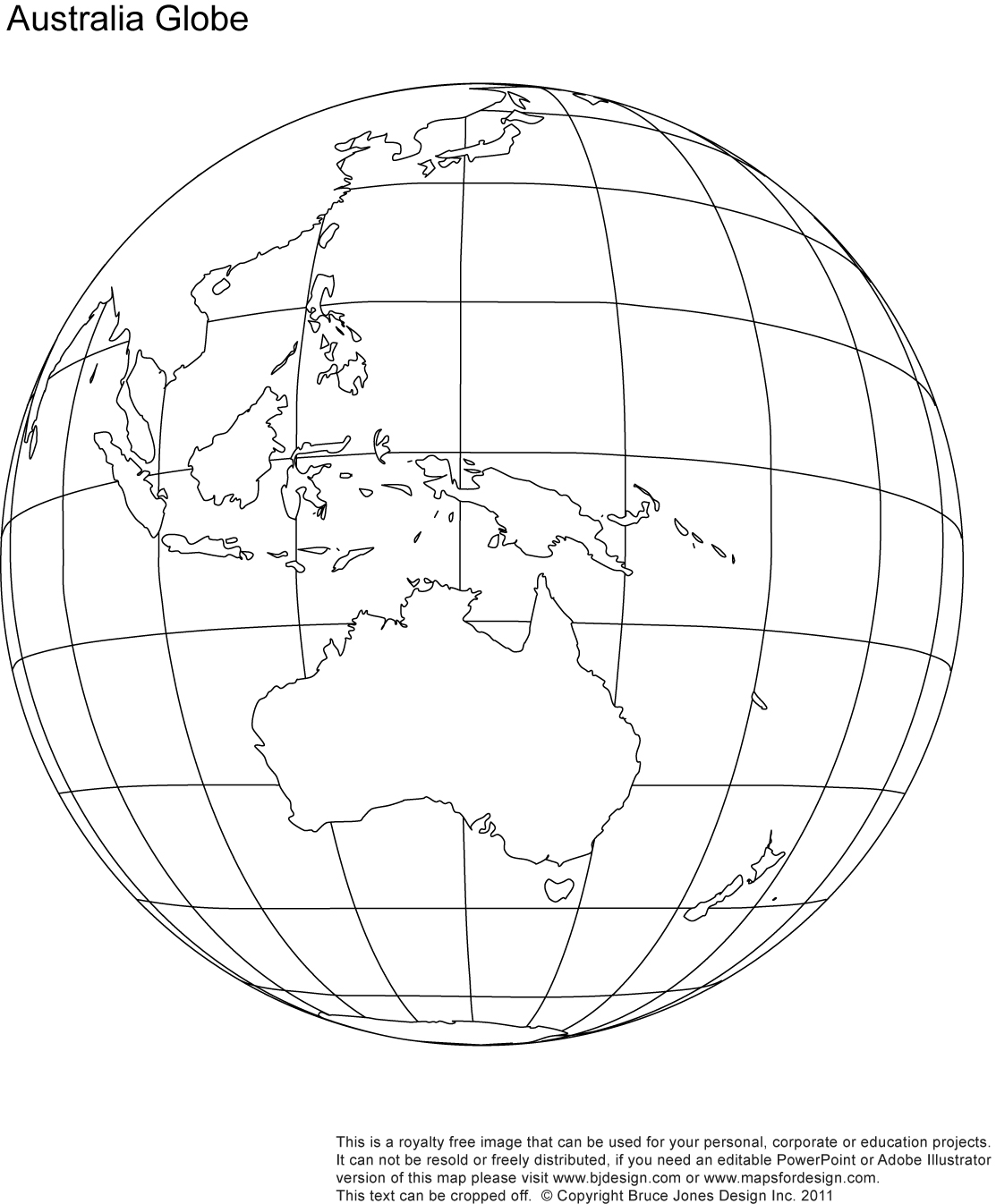 Australia Globe Map, blank, printable, outline, royalty free, jpg map