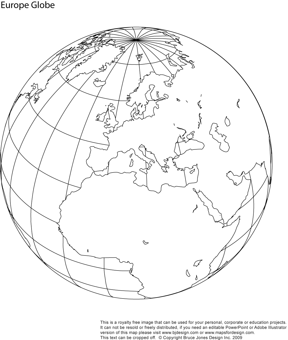 World Globe Europe Map, printable blank, royalty free, jpg