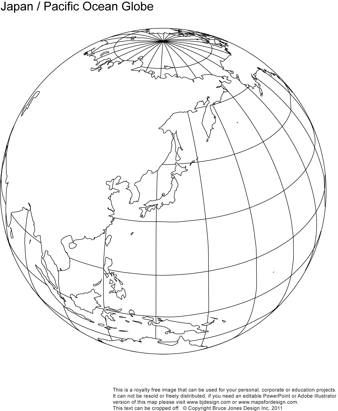 Japan, Pacific Ocean Globe map, blank, printable, outline, royalty free, jpg map