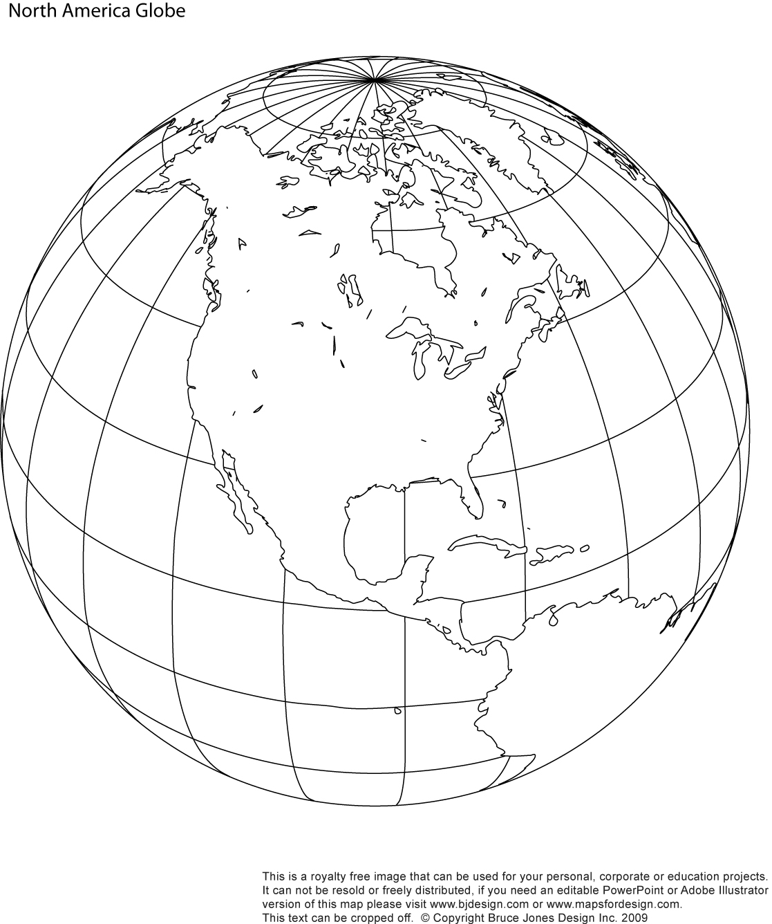 World Globe North America printable blank map, royalty free, jpg