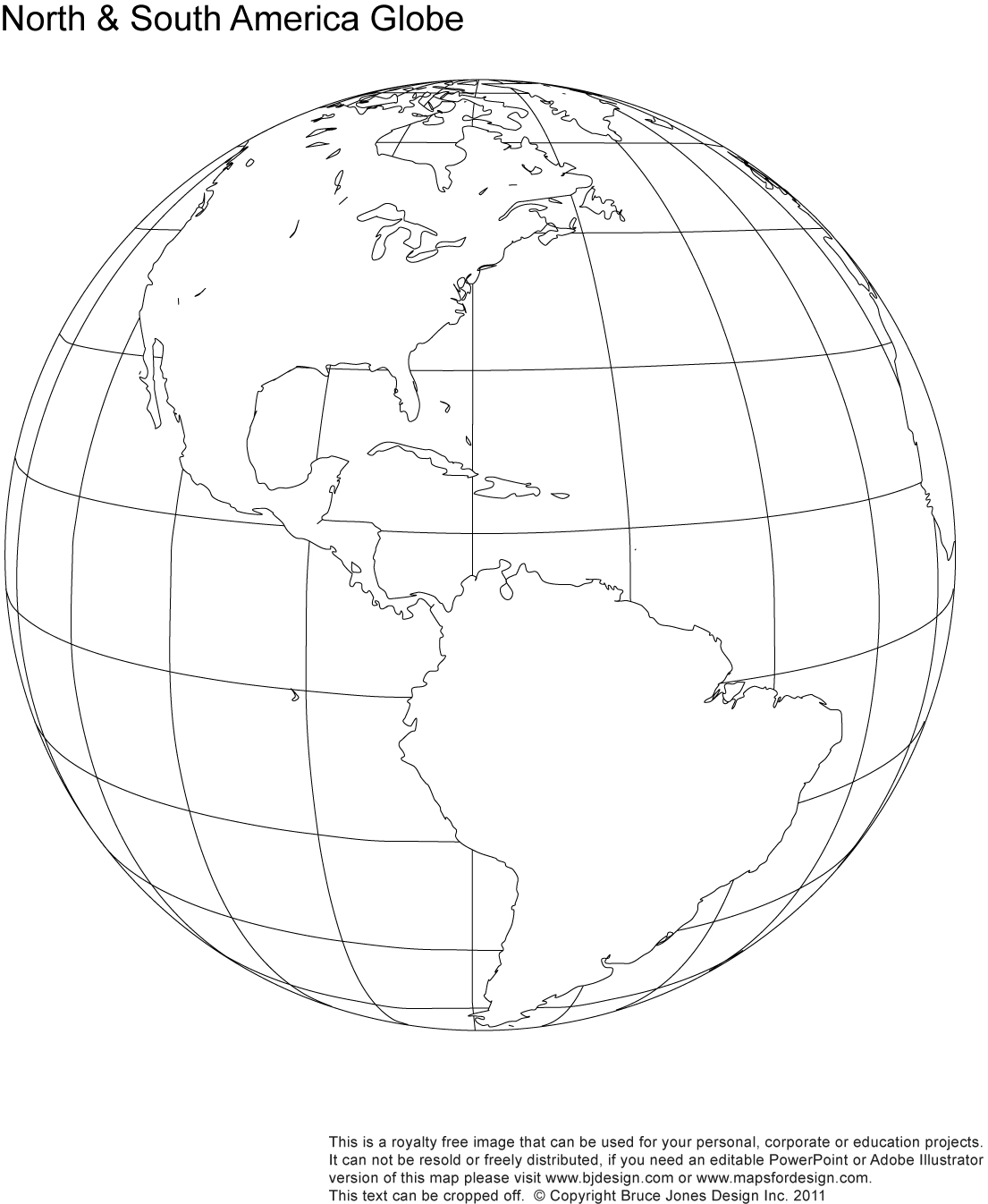North And South America Globe Map, Printable Blank, Royalty Free, Jpg