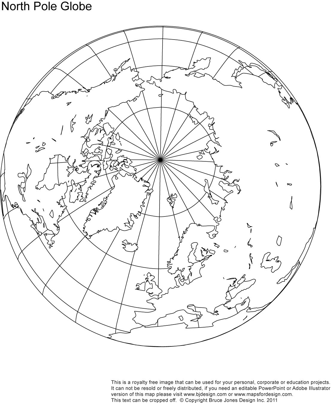 North Pole Globe Map, blank, printable, outline royalty free, jpg map
