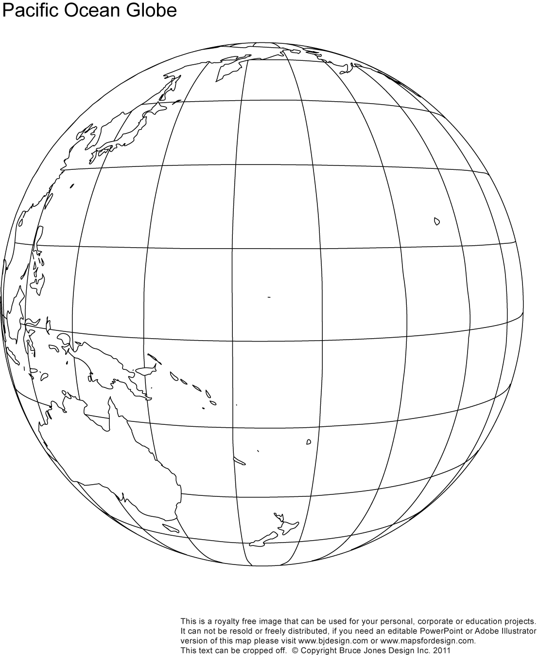 Pacific Ocean Globe Map, outline, blank, printable, royalty free, jpg map
