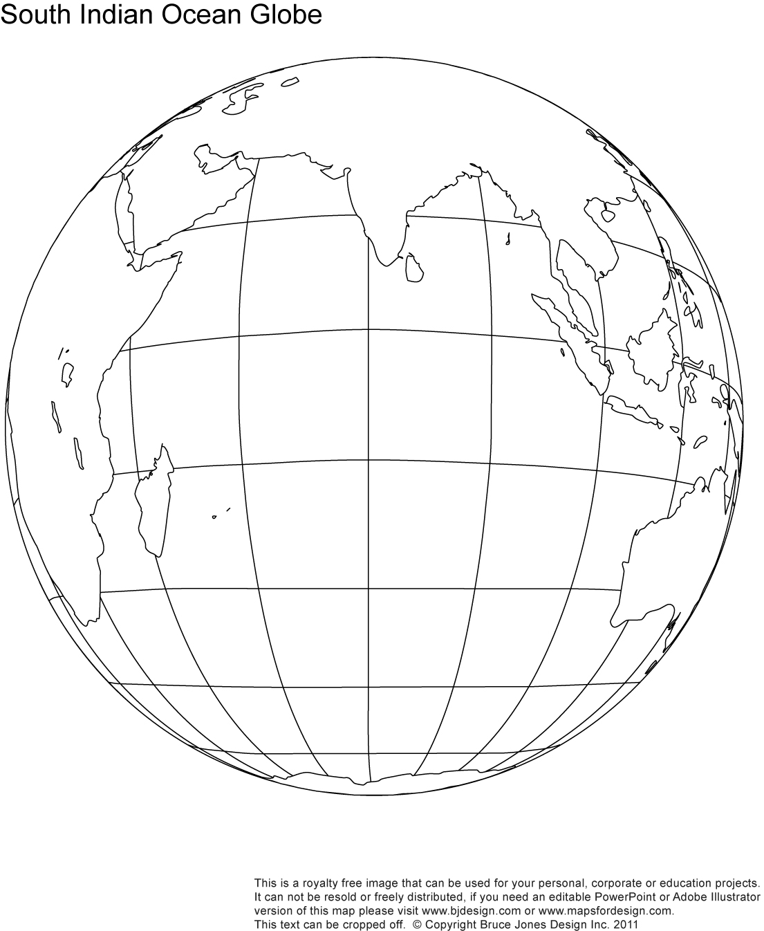 South Indian Ocean Globe map, blank, printable, outline, royalty free, jpg map