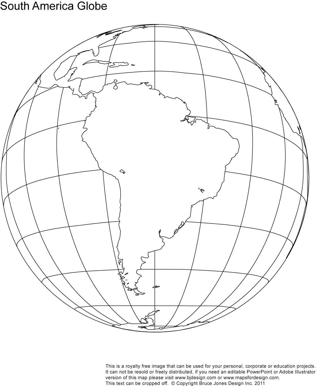 South America Globe map, printable, blank, outline, royalty free, jpg map