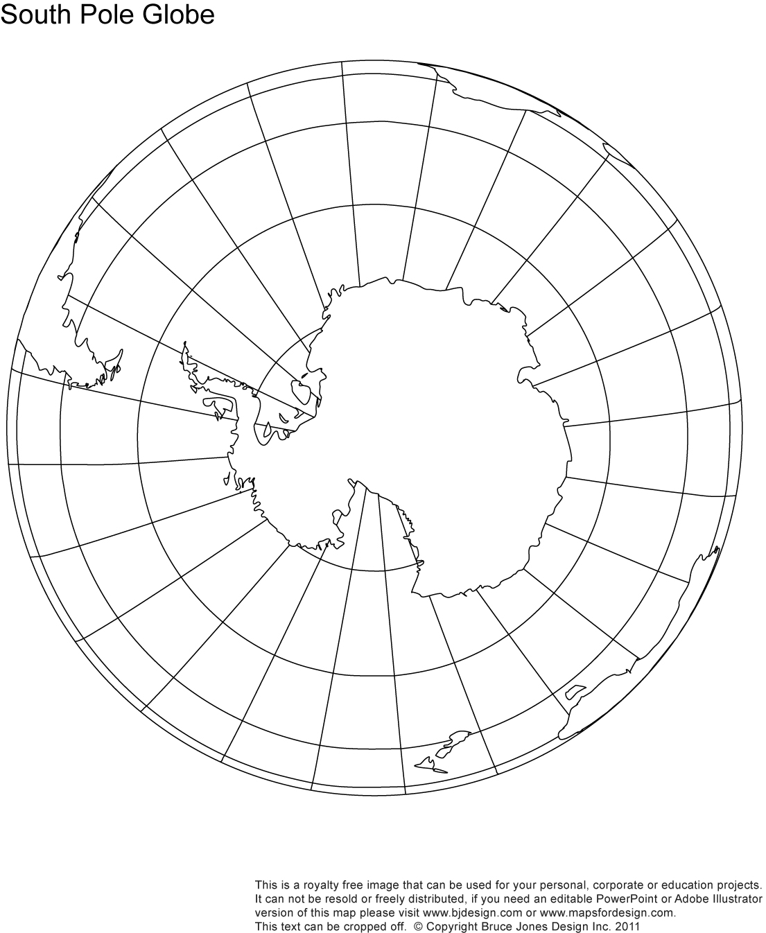 South Pole Globe map, blank, printable, outline, royalty free, jpg map