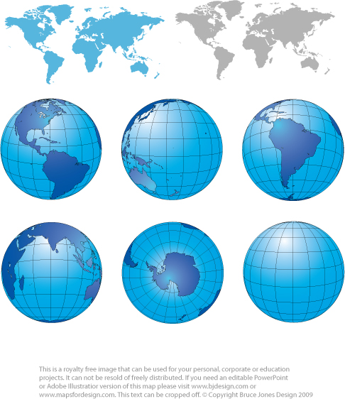 Free World Map Clip Art. World projections maps in blue