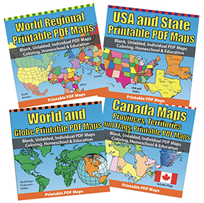 USA Maps and the 50 USA States PDF Map Sets for Homeschool